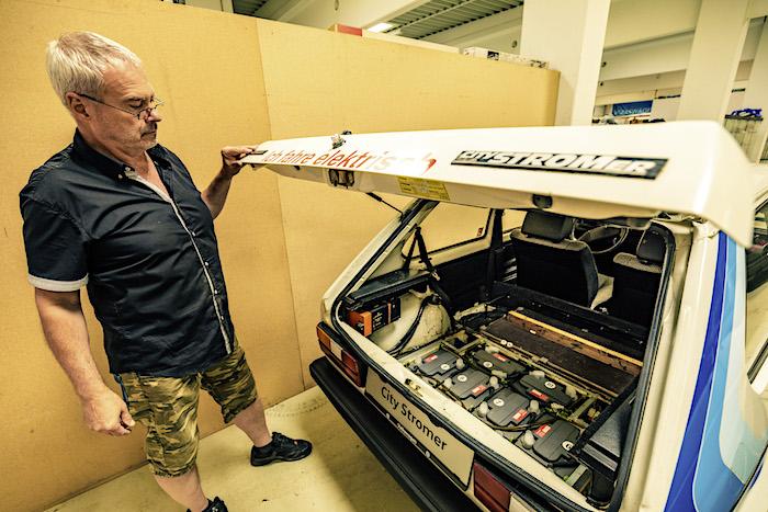 Golfstrudel CitySTORMer sähköauton akut. Tekijä ja copyright: Volkswagen AG.