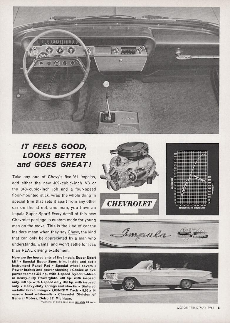 Chevrolet Imapala Super Sportin mainos Motor Trend lehdessä toukokuussa 1961. Kuva: Sensei Alan, lisenssi: CCBY20.
