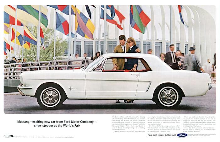 Ford Mustangin mainos vuodelta 1964. Kuvan copyright: Ford Motor Company.