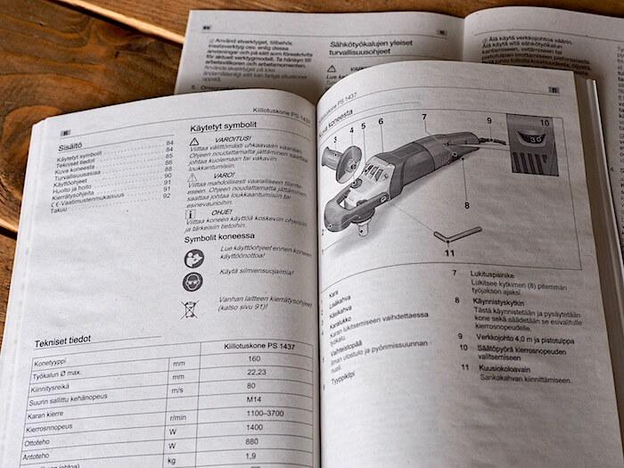 Mirka PS 1437 kiillotuskoneen suomenkielinen käyttöohjekirja. Tekijä: Kai Lappalainen. Lisenssi: CC-BY-40.