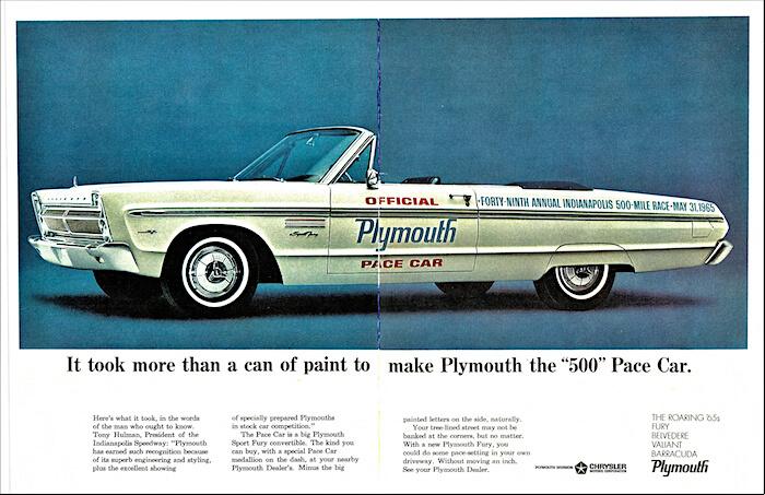 1965 Plymouth Fury Sport Indy virallinen turva-auto. Kuva: Alden Jewell. Lisenssi: CCBY20.