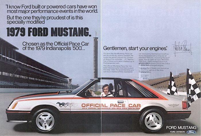 1979 Ford Mustang Indy 500 Official Pace Car Jackie Steward. Kuva: ussiefordadverts, lisenssi: CCBYND20.