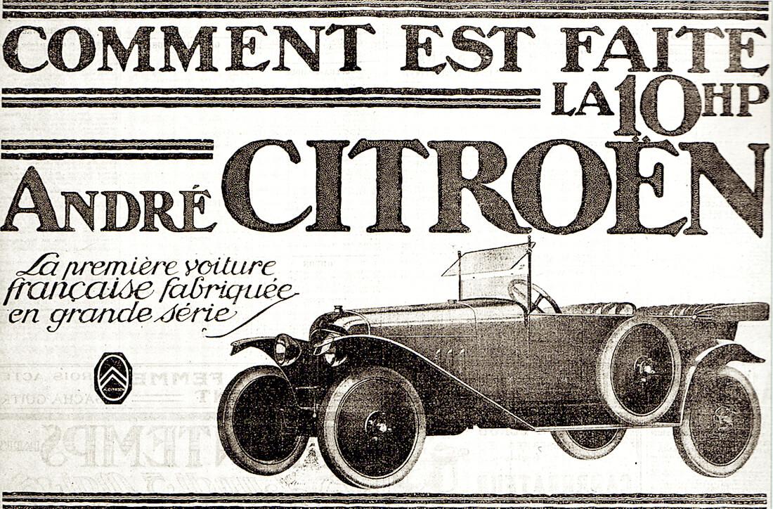 Citroën Type A 10HP lehtimainos. Kuva: Public Domain.