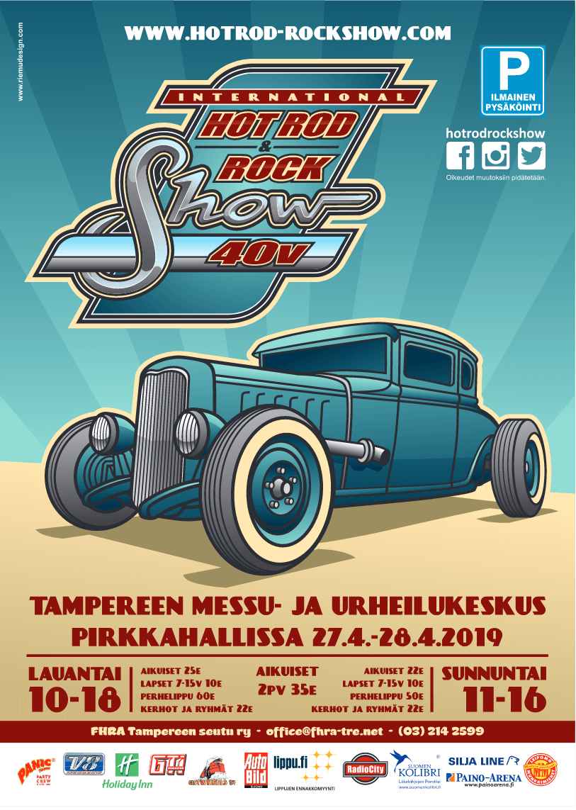 Hot Rod & Rock Show 2019 mainosjuliste. Kuva ja copyright: FHRA Tampere.