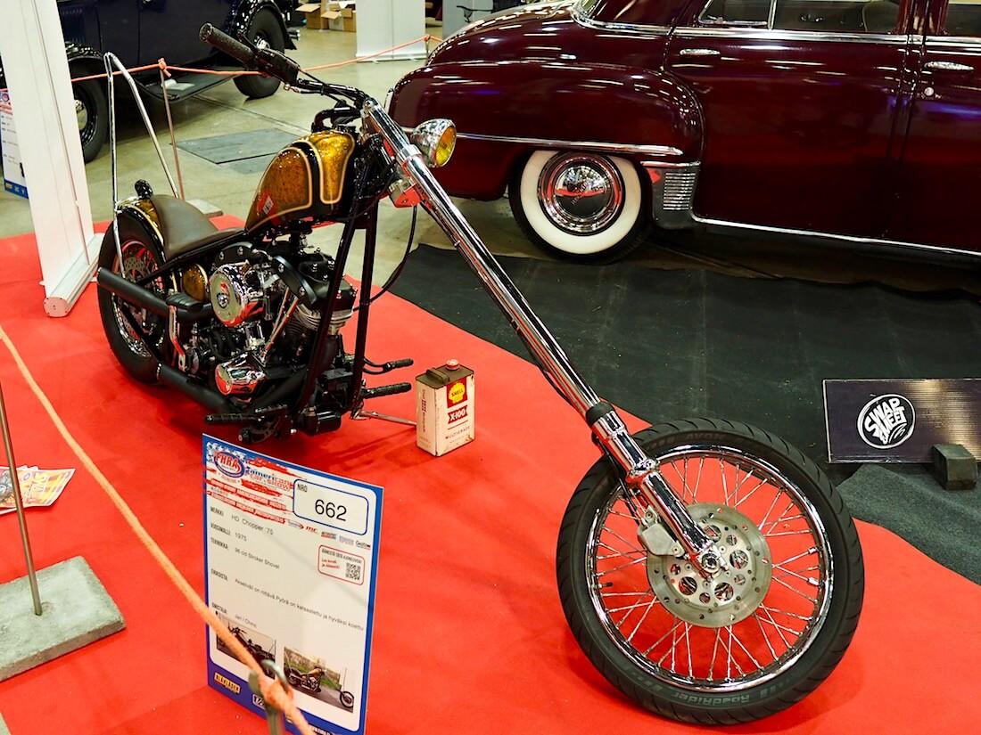 1975 Harley-Davidson Chopper 96cid shovelhead stroker. Kuva: Kai Lappalainen. Lisenssi: CC-BY-40.