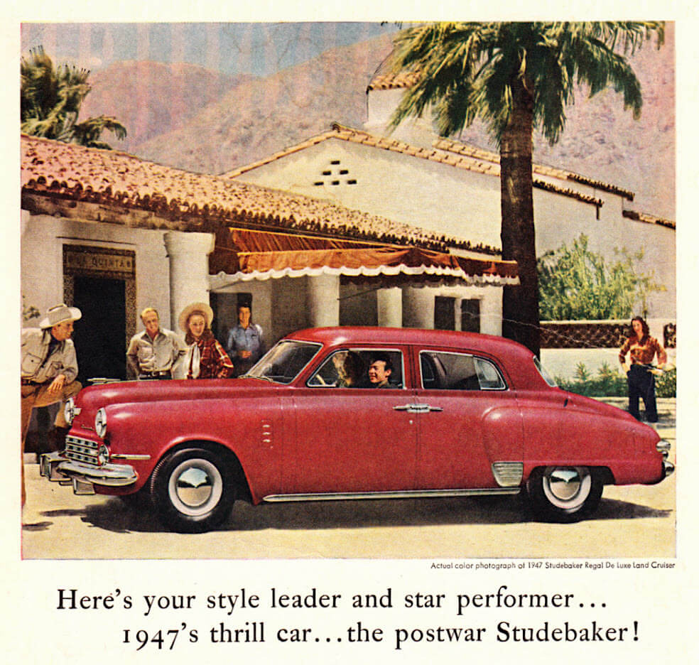 1947 Studebaker Regal DeLuxe Land Cruiserin mainos. Kuva: Classic Film. Lisenssi: CC-BY-NC-20.