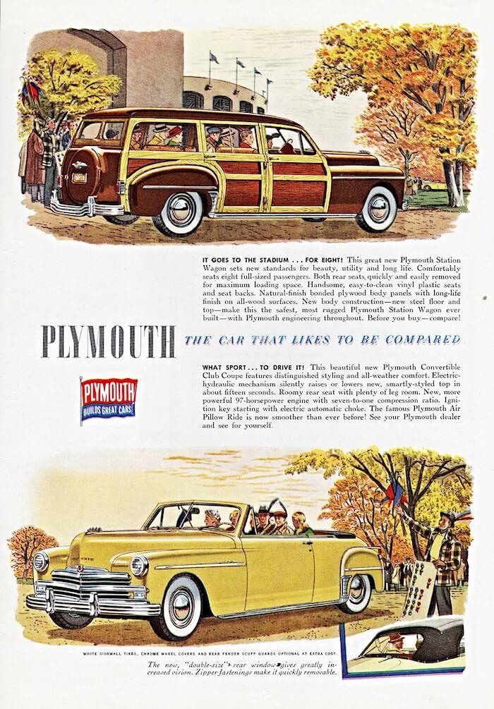 1949 Plymouth mallien mainos.