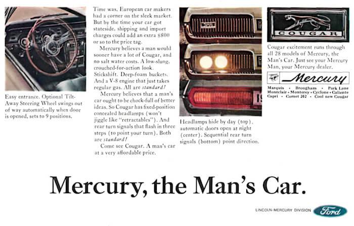 1967 Mercury Cougarin mainosteksti