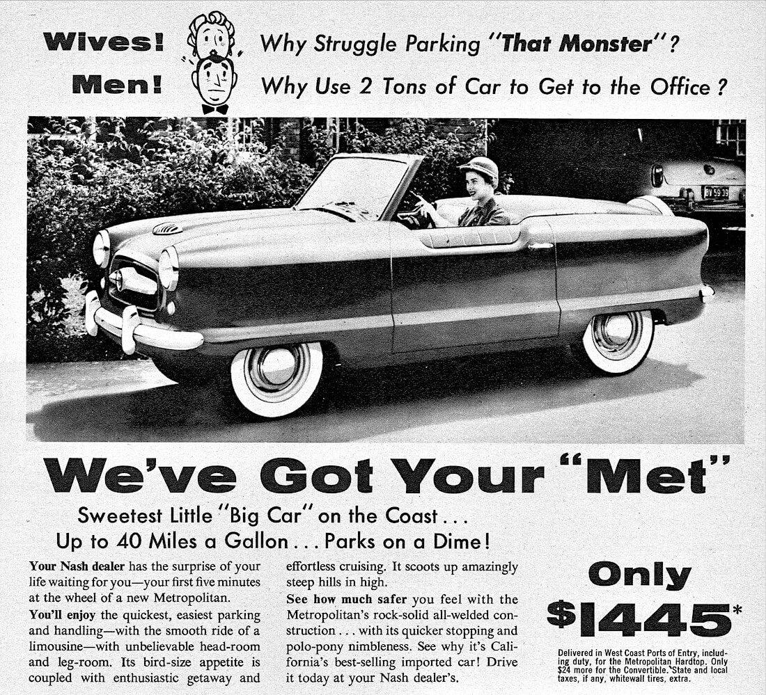 1955 Nash Metropolitanin mainos.