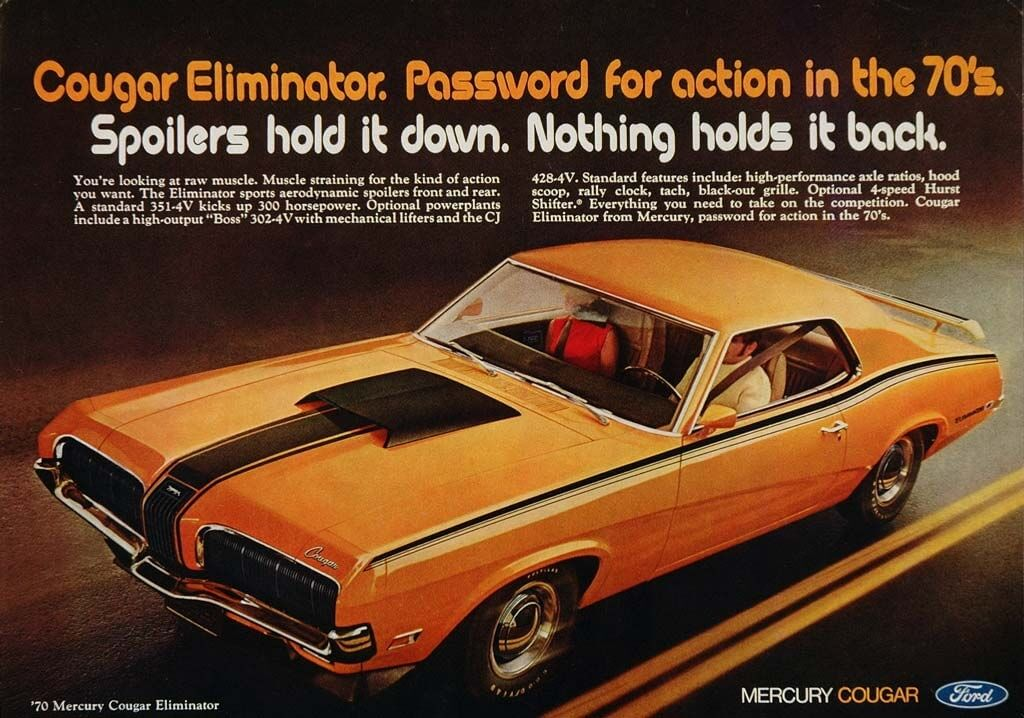 1970 Mercury Cougar Eliminatorin mainos