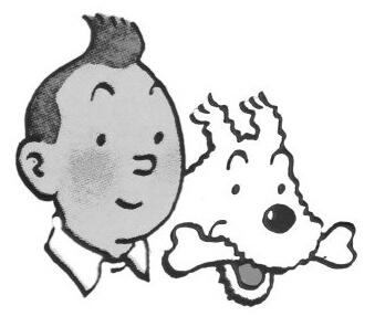 Tintti ja Milou-koira.