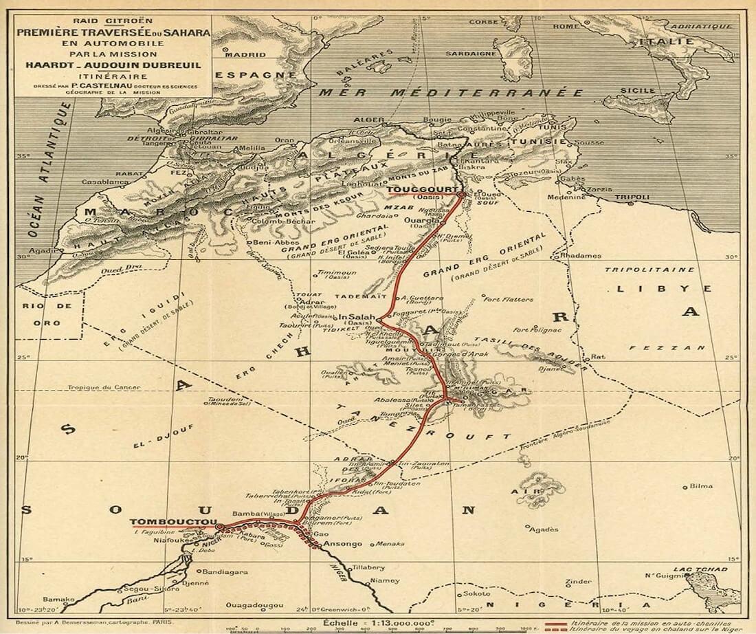 Ensimmäisen motorisoidun Saharan ylityksen matkareitti.