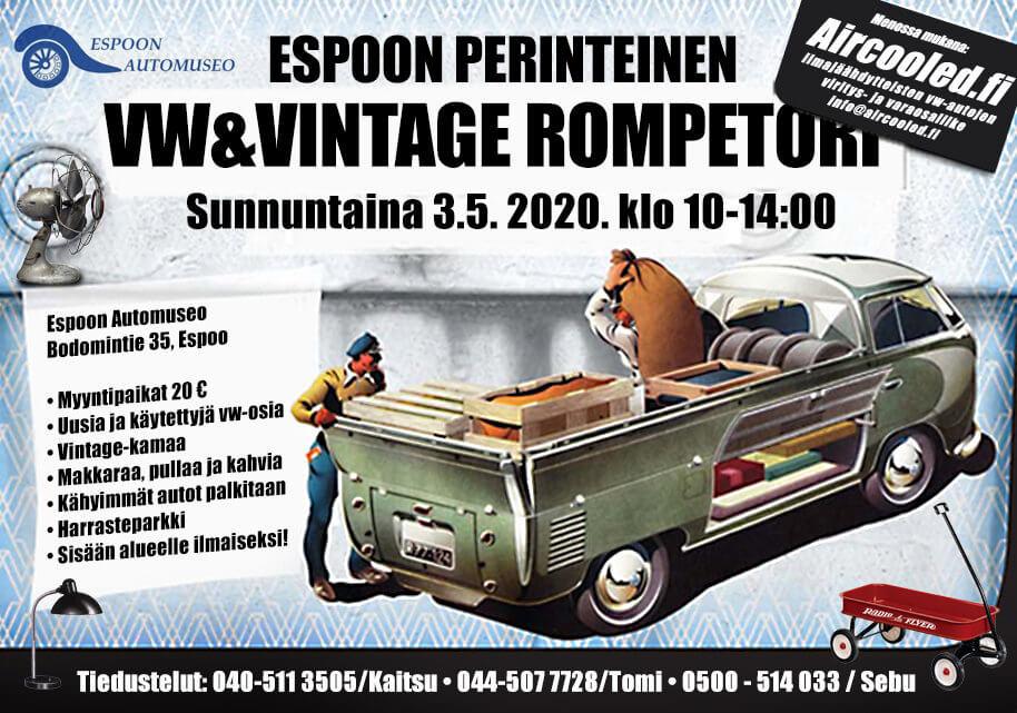 kevään 2020 Espoon VW&Vintage swapin juliste