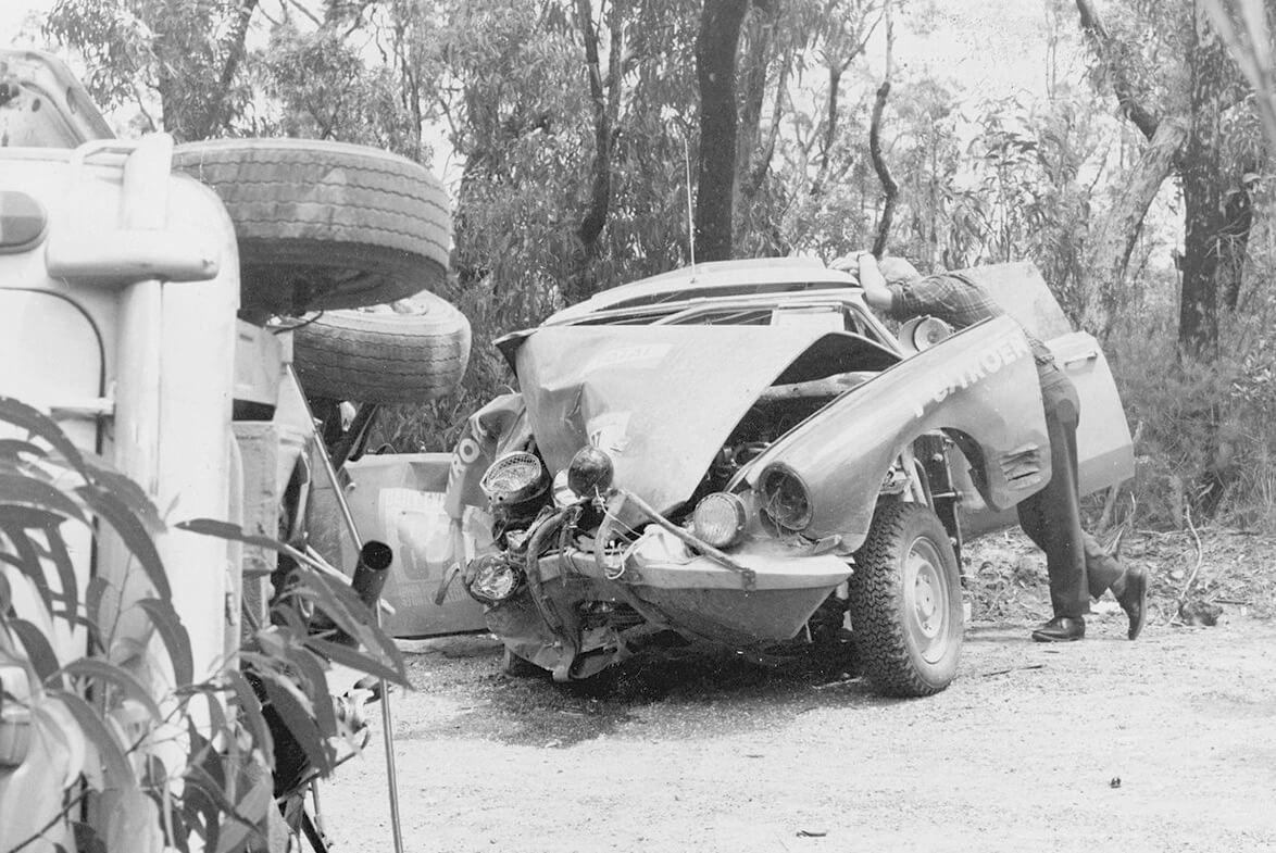 Lucien Bianchin tuhoutunut Citroen DS21 ralliauto