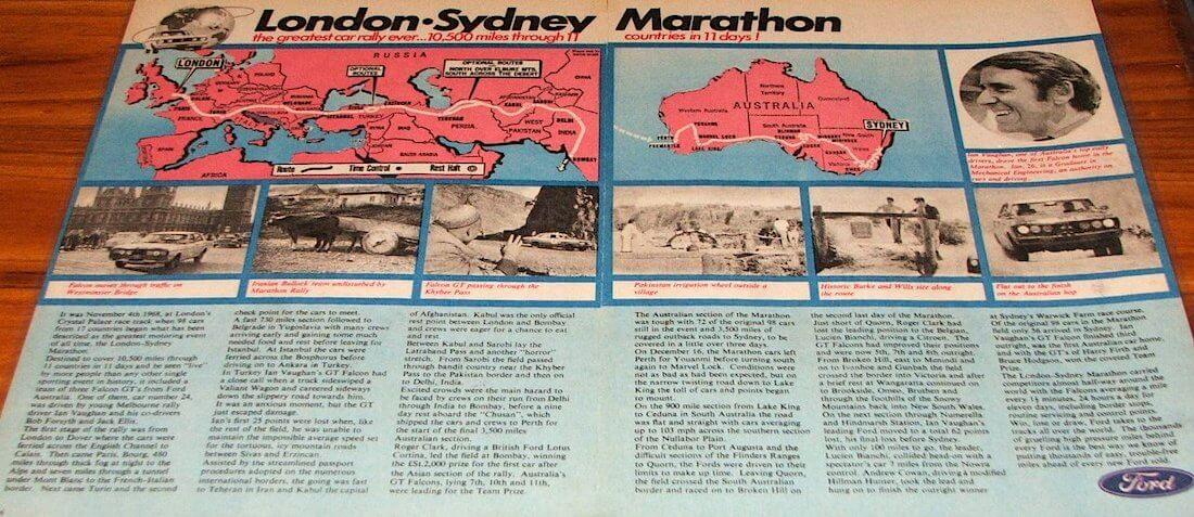Lontoo-Sydney rallin markkinointimateriaalia
