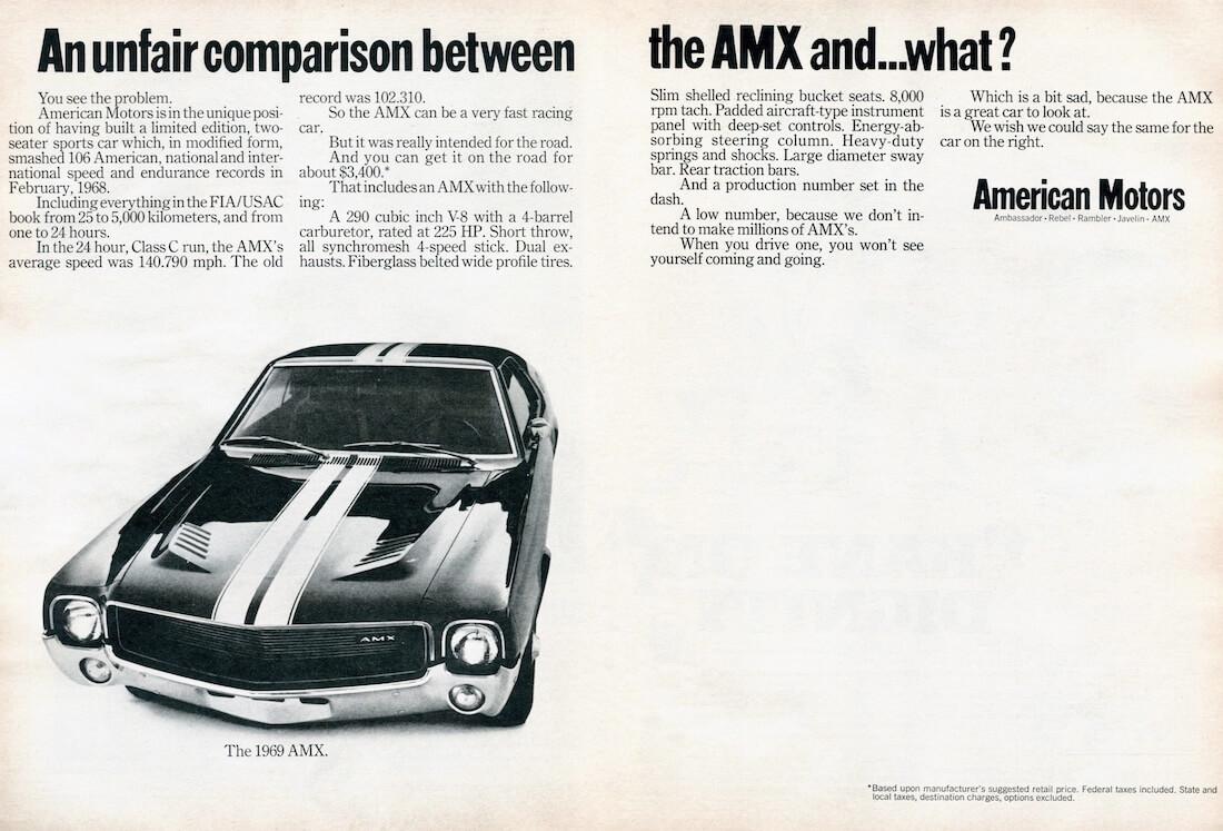 Vuosimallin 1969 AMC AMX:n mainosjuliste