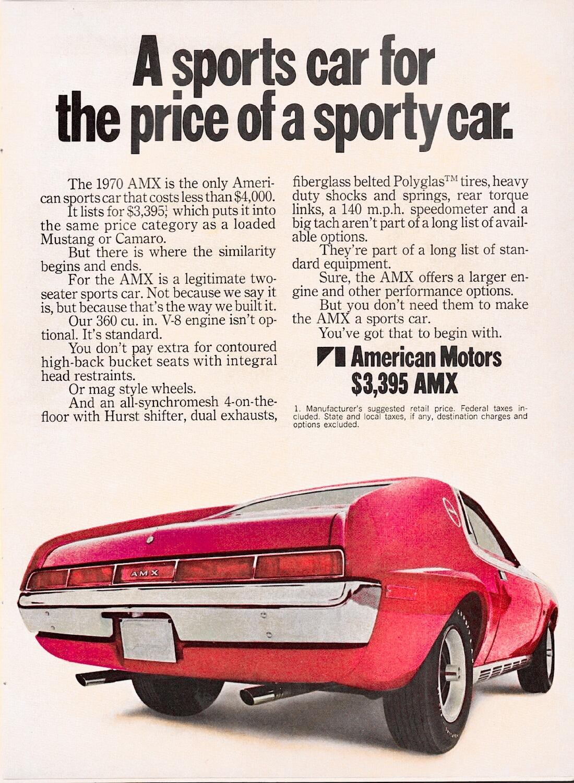 1970 AMC AMX:n mainosjuliste