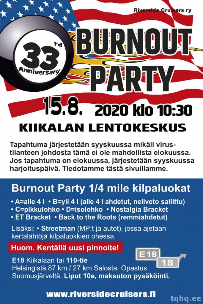 Burnout Party Kiikala 2020 juliste