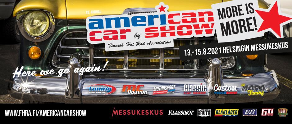 American Car Show 2021 mainosjuliste. FHRA.