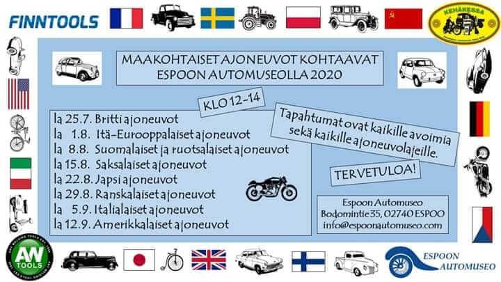 Maakohtaiset ajoneuvot kohtaavat Espoon automuseolla