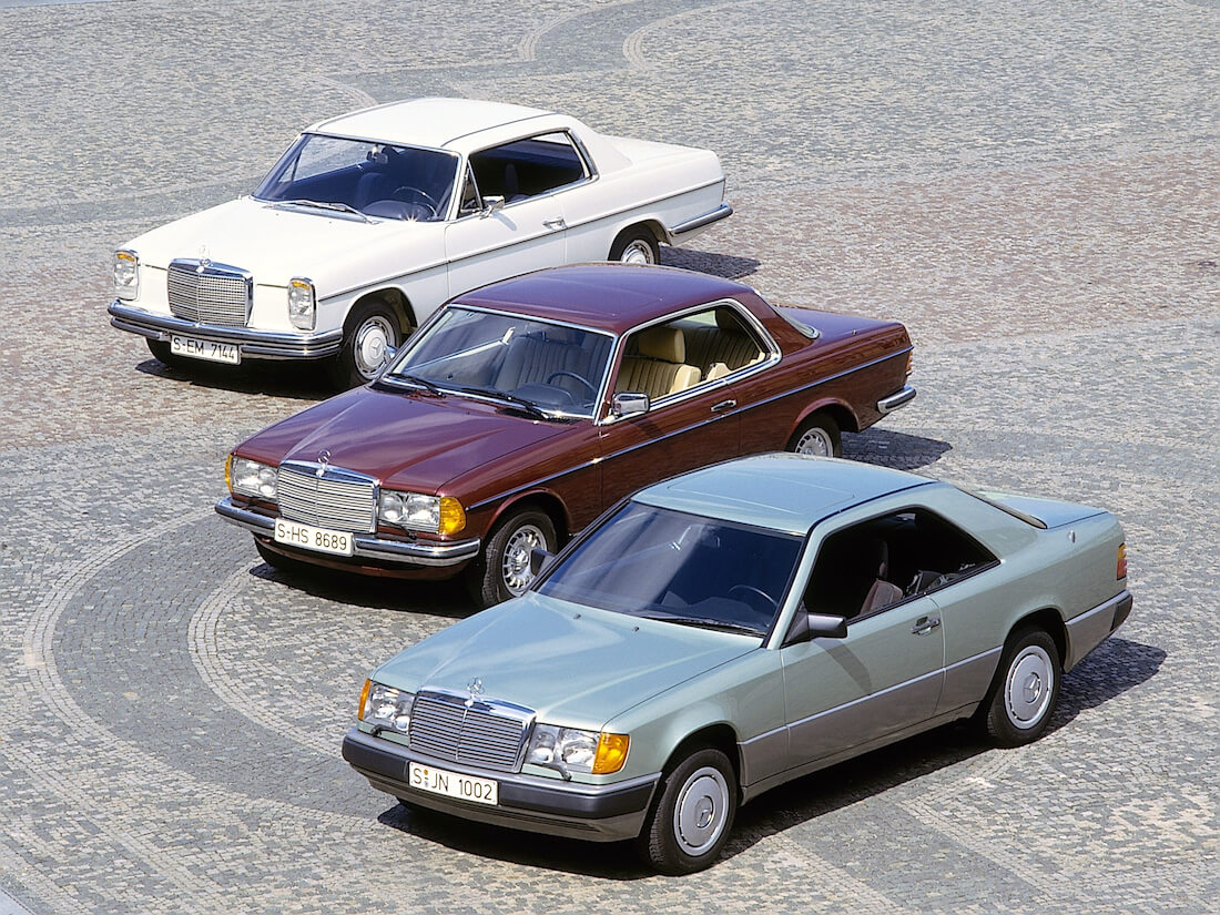 MB W114, W123 ja W124 coupe autot. Kuva: Mercedes-Benz AG
