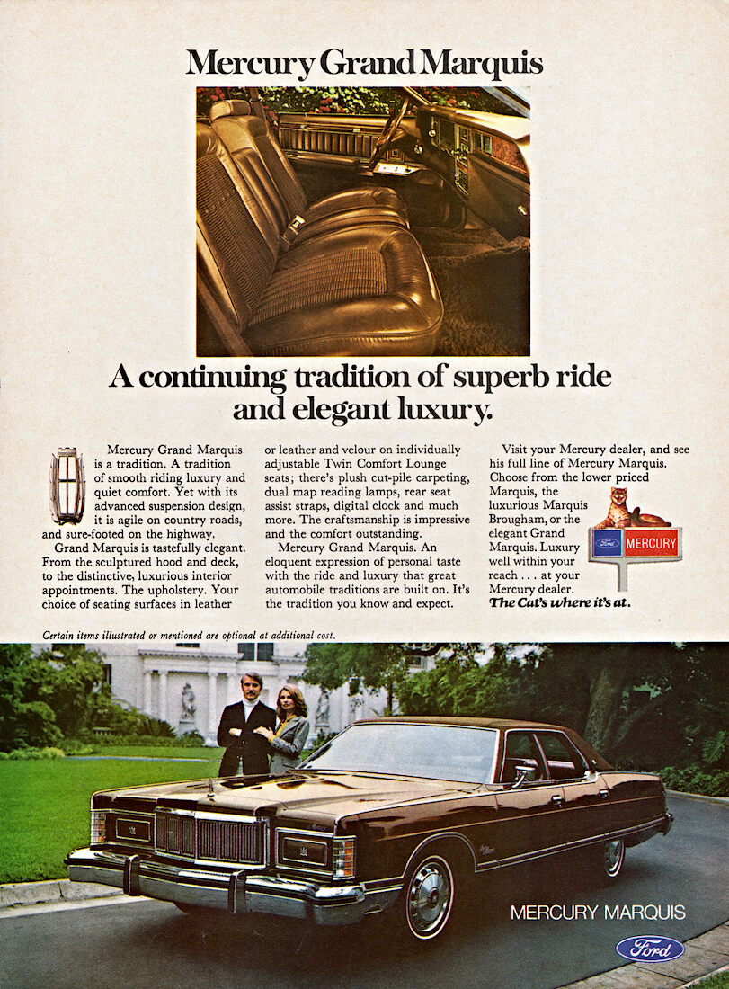 Mercury Grand Marquis auton mainosjuliste vuodelta 1976. Kuva: FoMoCo