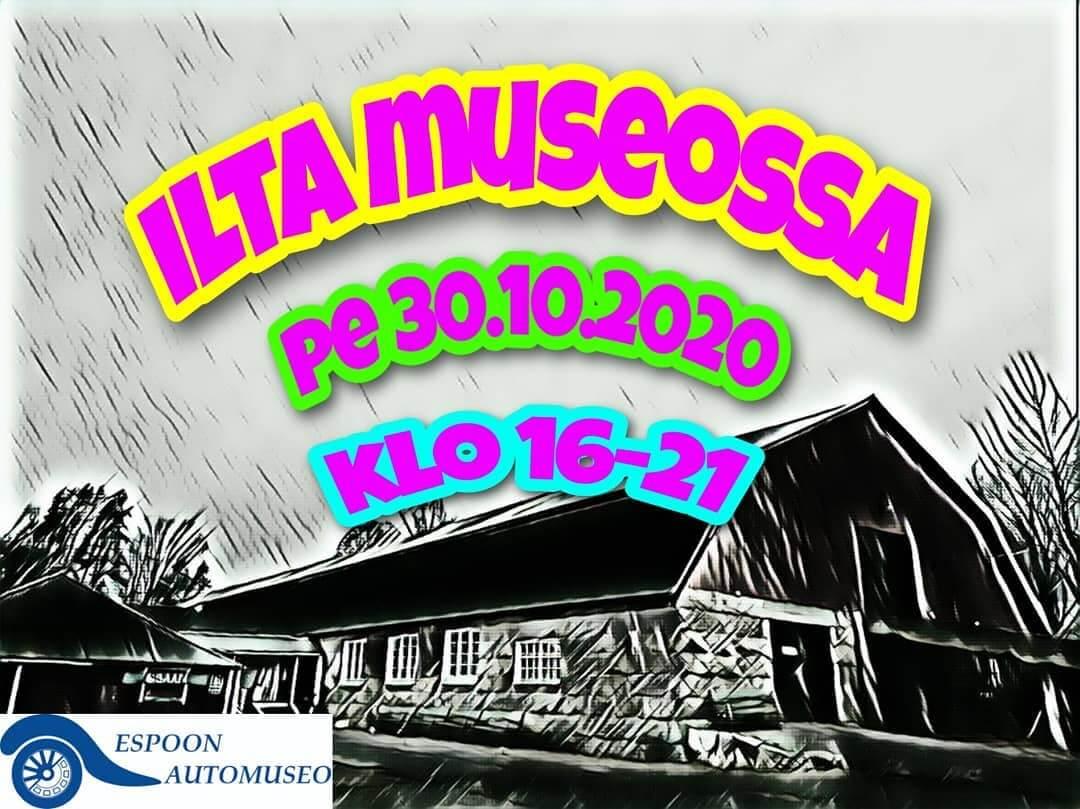 Espoon automuseon Ilta museossa -tapahtuman mainos. Kuva: Espoon Automuseo ry.