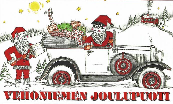 Vehoniemen automuseon motoristien joulupuuron mainos. Kuva: Vehoniemen automuseo.