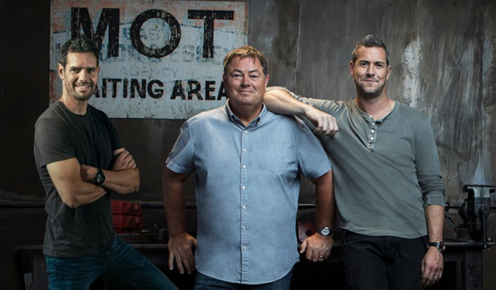 "Wheeler Dealers sarjan Mike Brewer, Ant Anstead ja Marc ""Elvis"" Priestley"