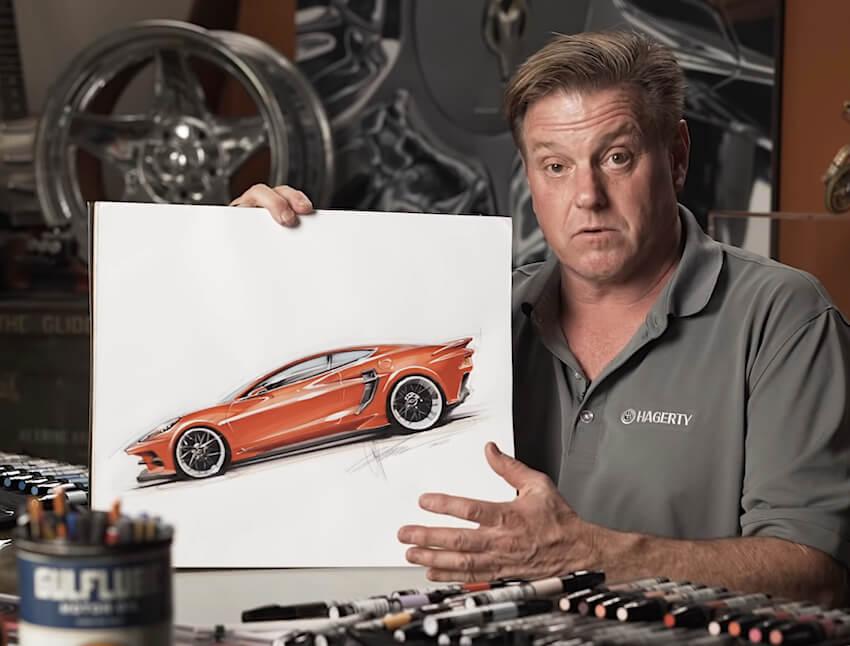 Autonsuunnittelija Chip Foose ja custom C8 Corvette Stingray.