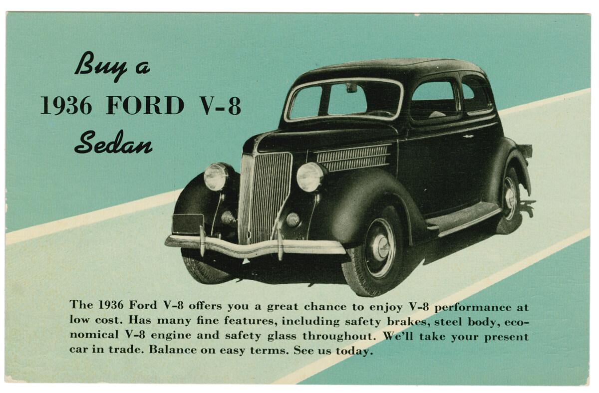 Ford V8 mainoskortti vuodelta 1936, PD.
