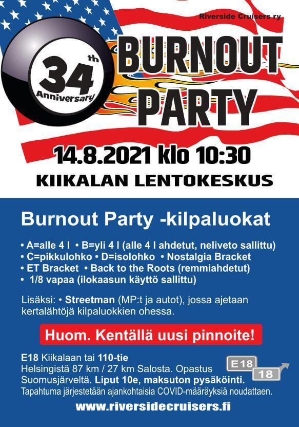 Burnout Party 2021 mainosjuliste
