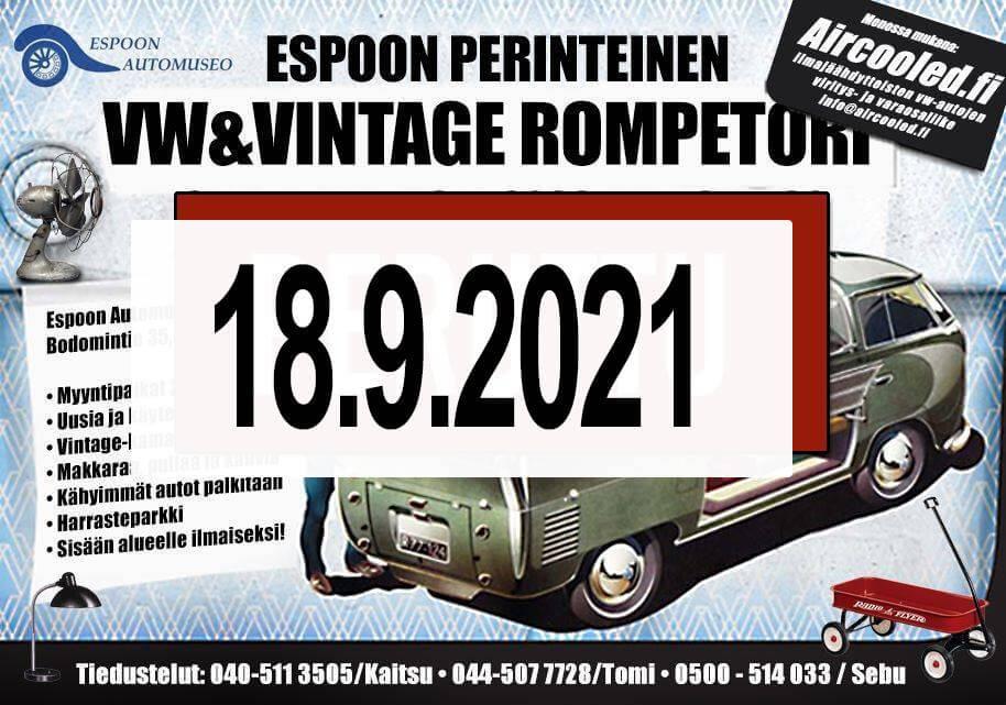 Espoon perinteinen VW&Vintage rompetori 2021
